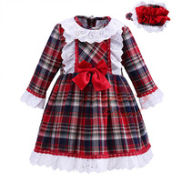 Pettigirl 2017New Autumn Girl Grid Dress England Style Plaid Long Sleeve Brief Lace Bowknot Casual Children Wear G-DMGD908-1027