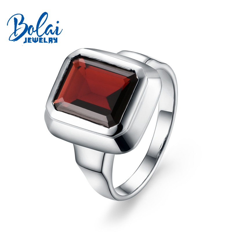 Bolaijewelry,100% Natural garnet oct8*10mm Gemstone Ring 925 sterling silver fine jewelry for women daily wear party gift wwd women s wear daily 2012 11 26