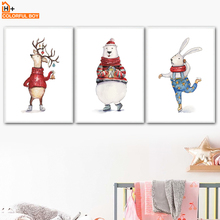 Cartoon Deer Bear Rabbit Wall Art Canvas Painting Nordic Posters And Prints Animals Pop Pictures Baby Kids Room Decor