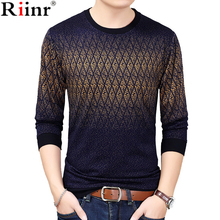 Riinr 2018 Brand New Sweaters Men Fashion Style Autumn Winter Grid Knitted High Quality Pullover Men Casual Argyle Men's Sweater