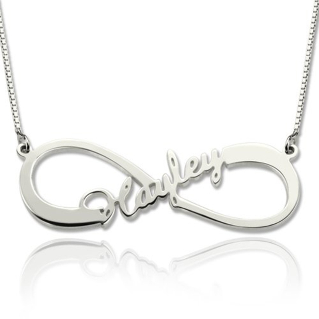 Personalized DIY Name Necklace 925 Sterling Silver Infinity Necklaces & Pendants Best Birthday Gift For Women
