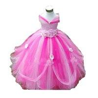 Fleur Filles Tutu Robe Pour la Fête D'anniversaire Fleur Appliques Élégant Princesse Filles Robe De Bal Boutique Robes Pour 2-10Y 4 Couleurs