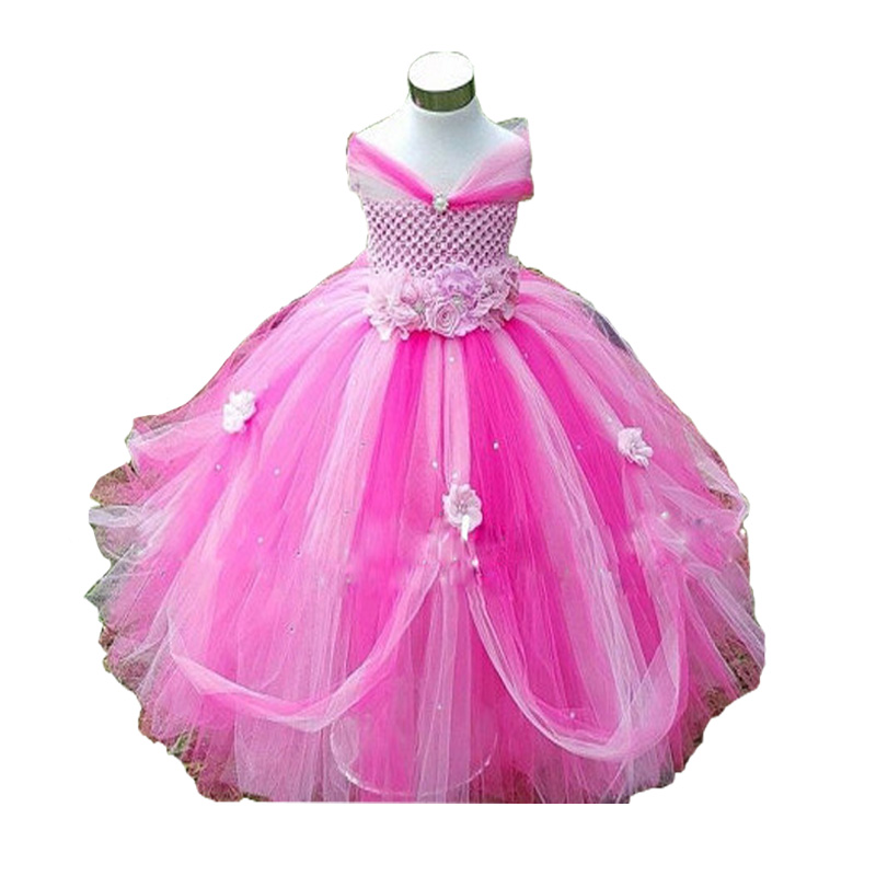 Flower Girls Tutu Dress For Birthday Party Flower Appliques Elegant Princess Girls Ball Gown Boutique Dresses For 2-10Y 4 Colors