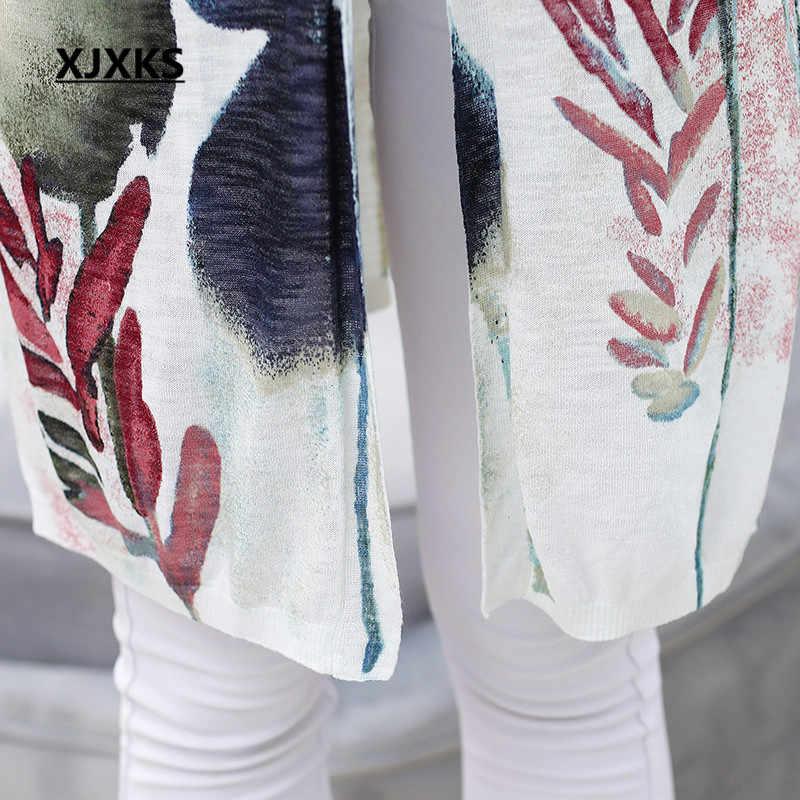 XJXKS Женский Лето, защита от солнца одежда кардиган 2019 Новая мода v-образный вырез высокого качества Лен Тонкий вязаный женский кардиган