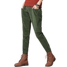 HCXR 2017 invierno cintura elástica pantalones sueltos mujeres de pana pantalones harén mujer pantalones gruesos pantalones pantalon femme