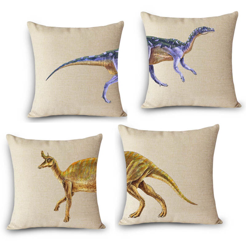 Cheap price Creative Split Type dinosaur printed Home decorative Cushion Cover 45x45cm Cotton Linen Throw Pillow case for Couch