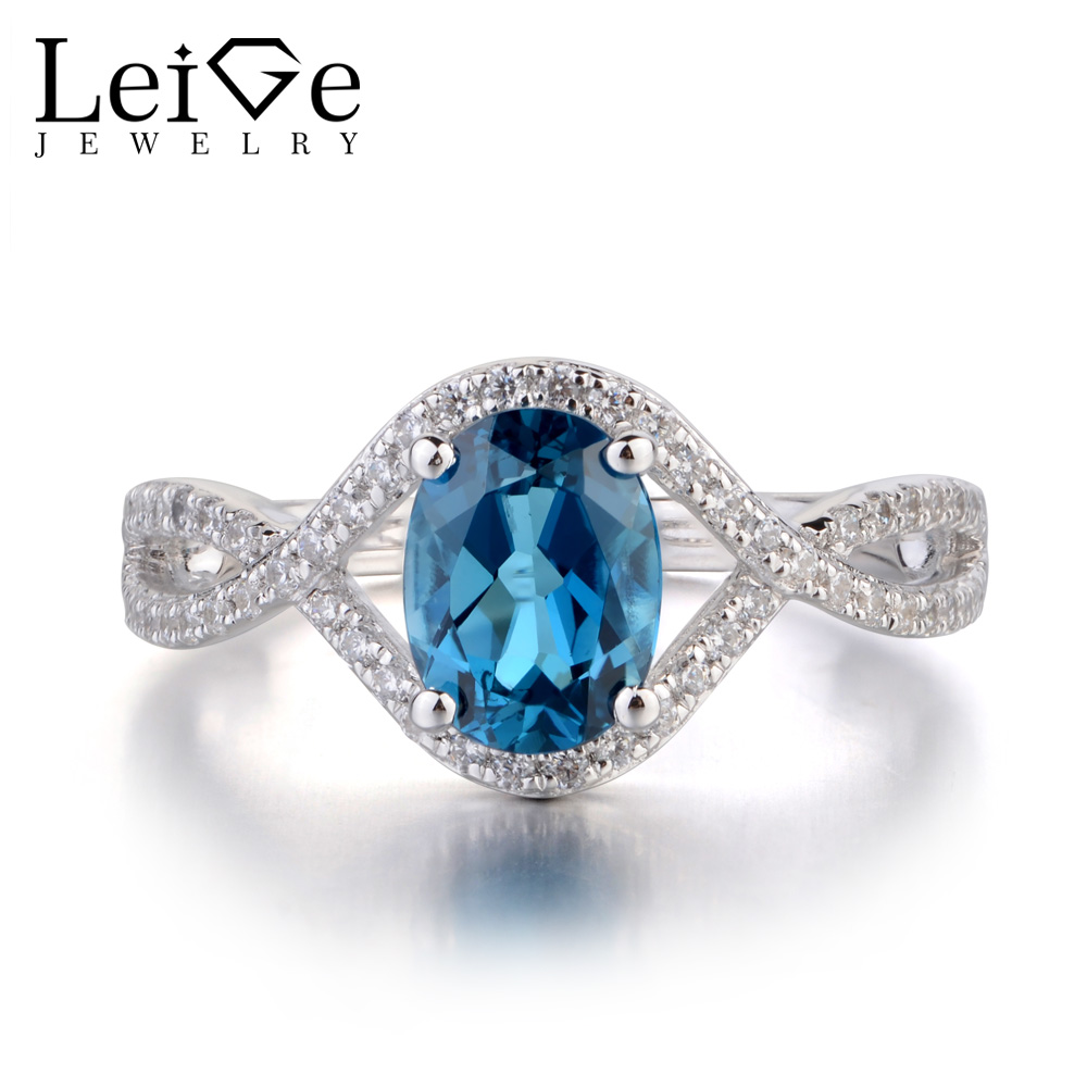 Leige Jewelry Oval Shaped London Blue Topaz Rings for Women Sterling Silver 925 Wedding Engagement Rings Blue Gemstone Jewelry leige jewelry swiss blue topaz ring oval shaped engagement promise rings for women 925 sterling silver blue gemstone jewelry