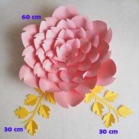 Artificial Flowers 60CM + Leaves 30CM Fleurs Artificielles Backdrop DIY Giant Paper Flowers Leaves Wedding Decor Baby Shower