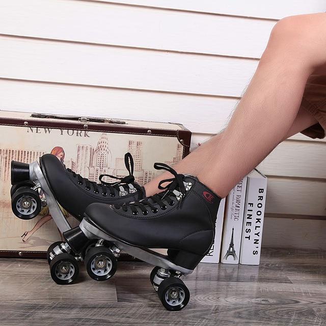 genuine black double speed skates F1 racing skates adult male and female Breathable figure skating roller skates middle-heel
