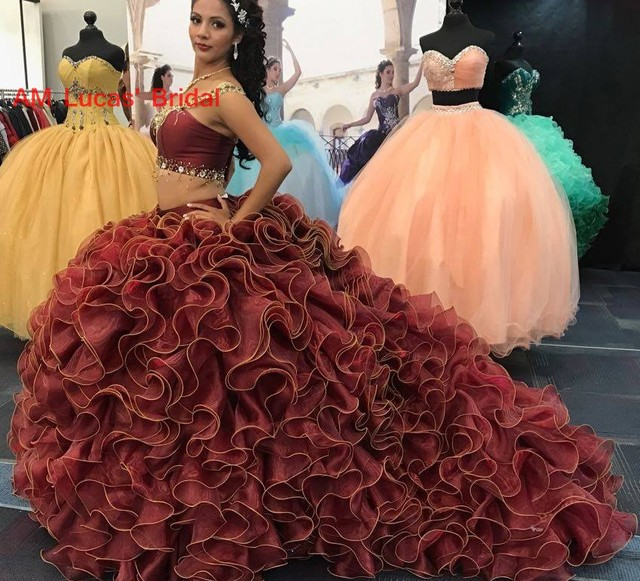 9080f50ef1d Long Ball Gown Quinceanera Dresses Two Pieces Sweet 16 Years For 15 Year  Birthday Party Gowns Vestido De 15 Anos