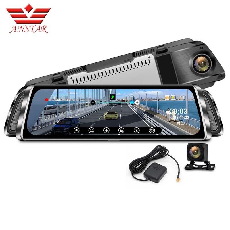 ANSTAR 10 pouces Voiture DVR Rétroviseur Android Miroir HD 1080P Dash Cam Souper Rétroviseur de Vision Nocturne Caméra Enregistreur De Voiture DVR