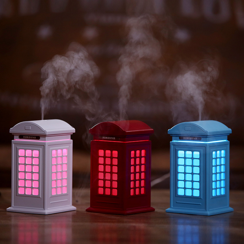 Cute Creative 3 Color Telephone Booth Humidifier Night Light Art Decoration Mist Maker Desktop Aroma Diffuser for Home Office creative telephone booth pattern kraft paper poster wall sticker for home decoration