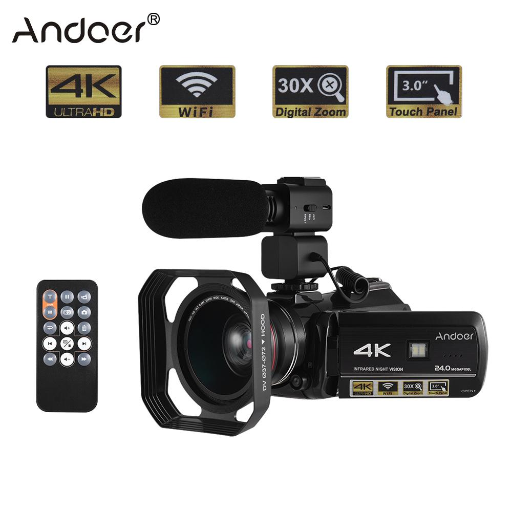 Andoer Professional Digital Video Camera 4K UHD 24MP Camara Camcorder w/0.39X Wide Angle Lens Lens Hood External Microphone