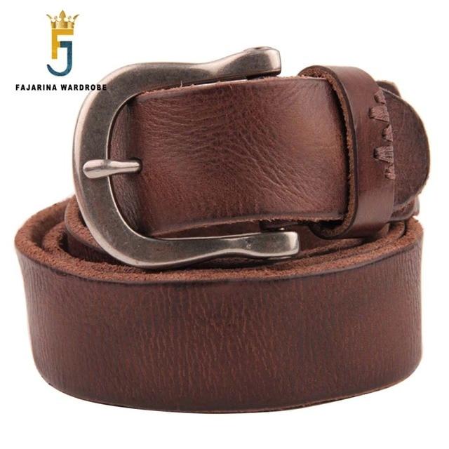 Fajarina unisex calidad 38mm casual retro estilos cinturones Vaqueros para  hombre negro marrón cuero genuino cinturón c6b88ca97ba6