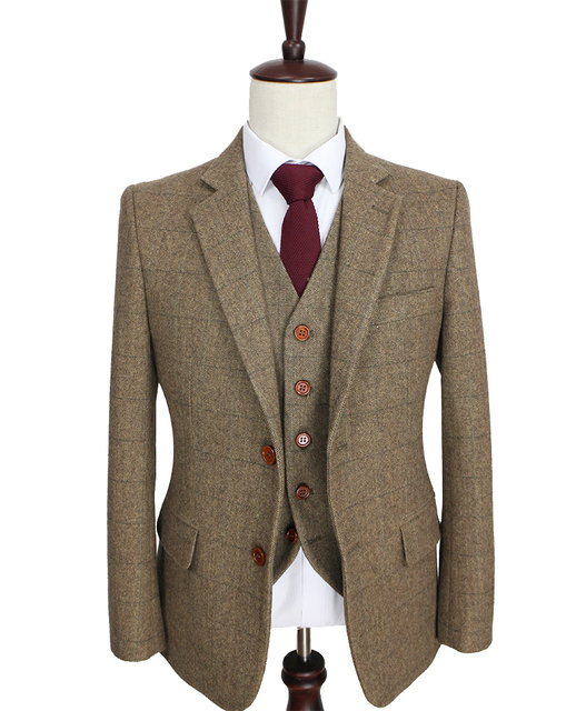 2016 Tailor Made Slim Fit Suits For Men Retro Brown