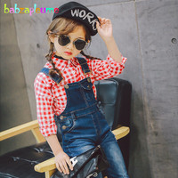 2PCS 2 6Years Spring Autumn Korean Kids Clothes Red T Shirt Jeans Pants Baby Girls Boutique