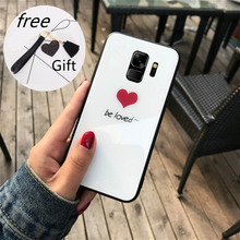 For samsung galaxy A7 2018 Tempered Glass Case be love Cover Samsung A8 A5 A9 A6 Plus A9S Tassel Lanyard Funda