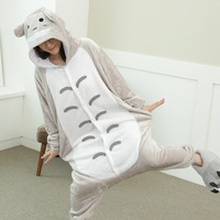 Anime Totoro Cosplay Costumes Unisex Adult Animal Flannel Winter Women Men Nightwear Totoro Onesie Pajamas Halloween