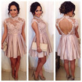 Pastel Pink High Neck Illusion Lace Bodice Short Cocktail Dress With Keyhole Back 2016 New Hot Sell