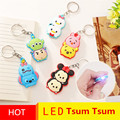 2016 New Cartoon Tsum Tsum LED Light Stitch Mouse Duck Bear Keychain Pendant Toys Anime Brinquedos 5pcs/lot 10 sets