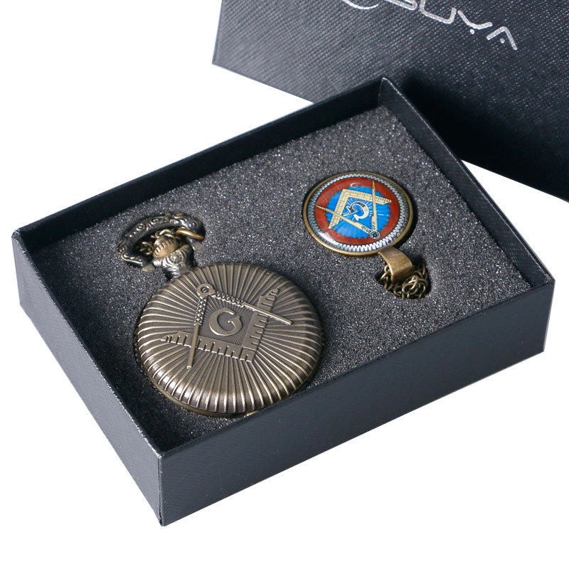 Bronze Freemasonry Masonic Jewelry Pocket Watch With Necklace Pendant And High Quality Chain Gift Set