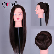 55CM Fiber Hair Mannequin Head For Hairstyles Hairdressing Head Hairdressers Female Mannequin Professional Styling Head Dolls(China)