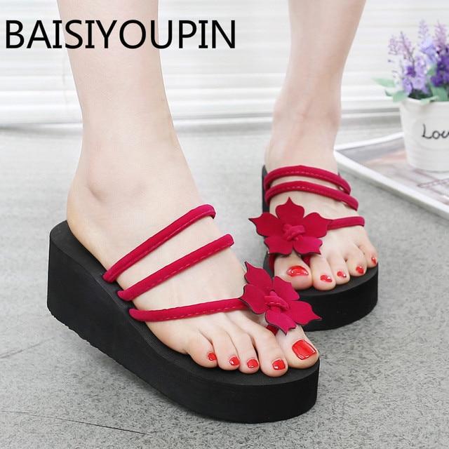df920593b 2018 Summer New High Heels 6cm Wedge Shoes Women Flip Flops Thick Bottom  Ladies  Slippers Sweet Flowers Clip Toe Outdoor Sandals