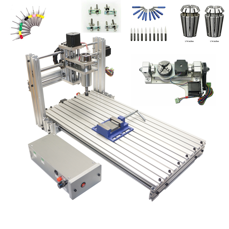 3 axis cnc frame 6020 4 axis PCB engrave machine 5 axis wood router with rotary axis with cutter collet clamp drilling kits