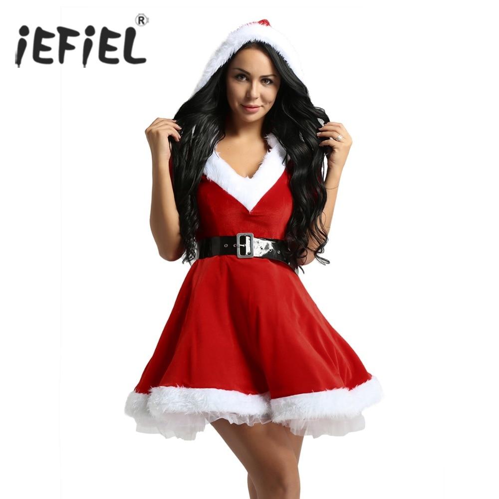 05dd8db7de Womens Sexy Ladies Red Dress Velvet V Neck Hooded Tutu Mrs Claus Costumes  Dresses Santa Baby