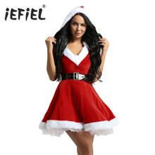 Womens Sexy Ladies Red Dress Velvet V Neck Hooded Tutu Mrs Claus Costumes  Dresses Santa Baby Costume Fancy Dress with Belt 0c6d343c28ec