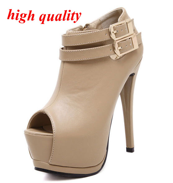 Aliexpress.com : Buy Women Heels Ankle Boots peep toe platform ...
