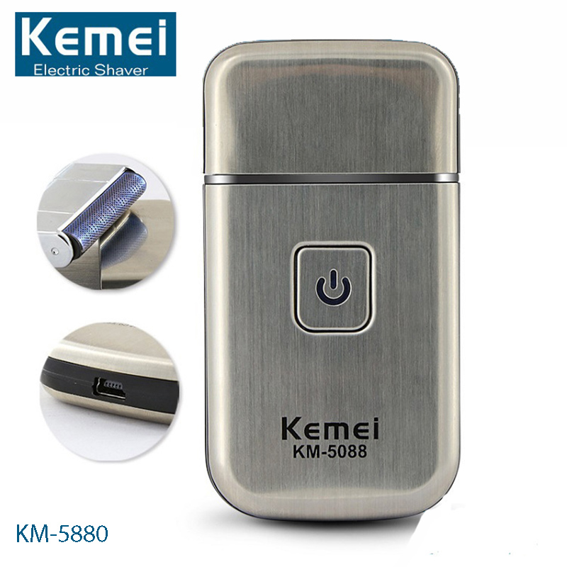 KEMEI KM-5088 Face Care Mini USB Charging Cordless Travel Electric Shaver Beard Trimmer Facial Cleaning Razor Shaving kemei men s electric shaver cordless rechargeable reciprocating razor wet and dry use beard trimmer men s face care tool km 2016