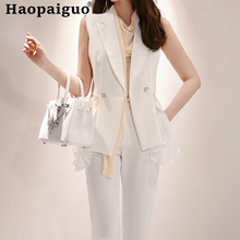 2019 Summer Style OL Office Two Pieces Set Sleeveless White Blouse and Sheath Long Pants Casual Lace Patchwork 2 Suit