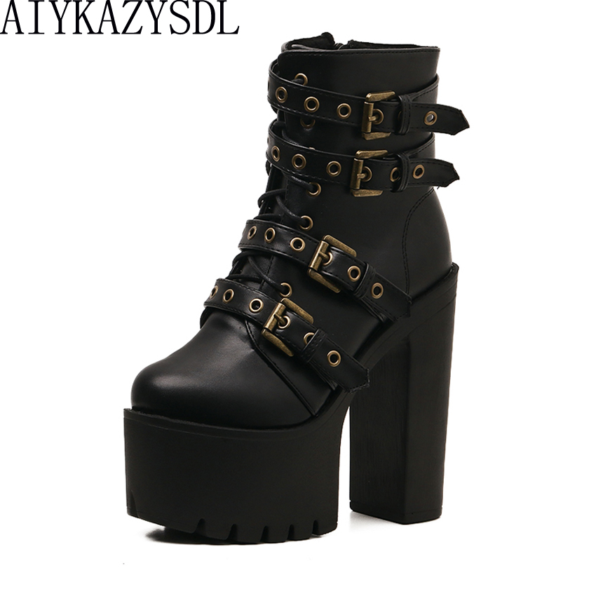 AIYKAZYSDL Cross Strap Ankle Boots Women Punk Gothic Strappy Gladiator Motorcycle Biker Bootie Platform Thick Ultra High Heels hongyi women motorcycle biker ankle boots glossy leather rhinestone crystal ridding bootie bow butterfly knot shoes thick heels