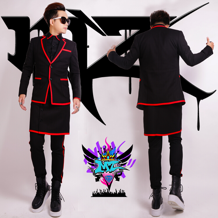 Nightclubs Male Singer Suits Dj Europe Catwalk Style Black Red Stripe Aprons Suit Men fashion Blazers Costumes wedding dress