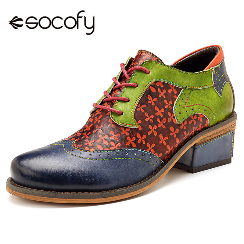 все цены на Socofy Vintage Oxford Pumps Women Shoes Woman Mixed-color Genuine Leather Lace Up Retro Casual Women Brogue Shoes Block Heels