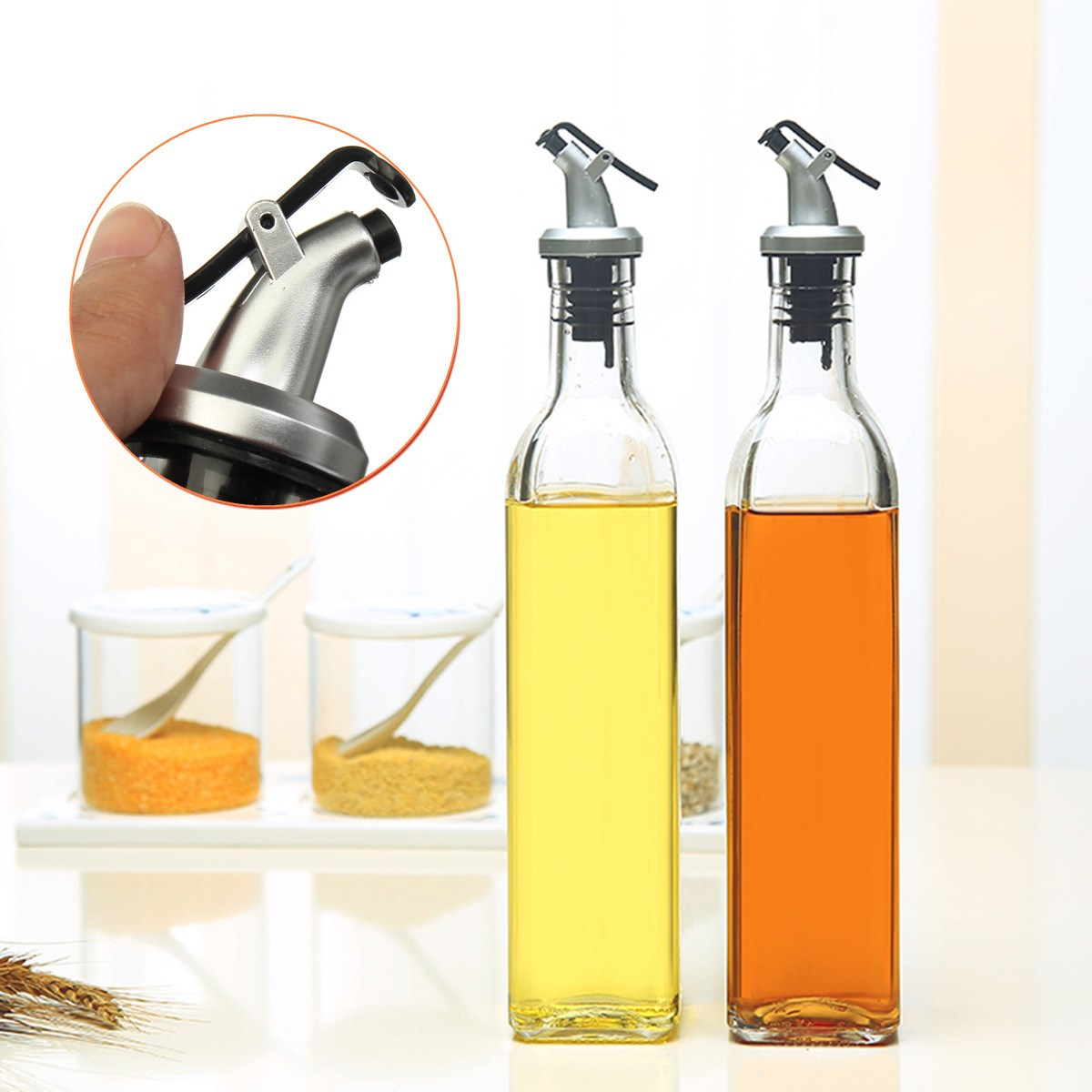 Olive Oil Vinegar Dispenser 500ml Gl Gravy Boat Pourer Cooking Wine Condiment Storage Bottle Organizer Kitchen Tools In Boats From Home