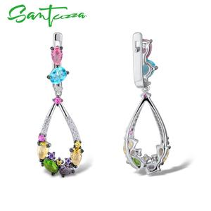 Image 4 - Santuzza ピアス女性 925 スターリングシルバーブラブライヤリングロングシルバー 925 カラフルな石 brincos ファッションジュエリー