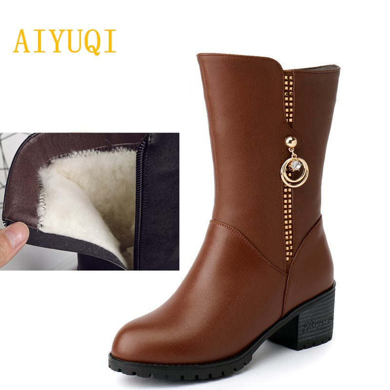 AIYUQI 2018 new genuine leather women's winter boots. warm wool boots Large size 41 42 43 rubber boots for women motorcycle aiyuqi women s winter boots 2018 new fashion genuine leather warm wool boots women motorcycle ladies shoes big size 41 42 43
