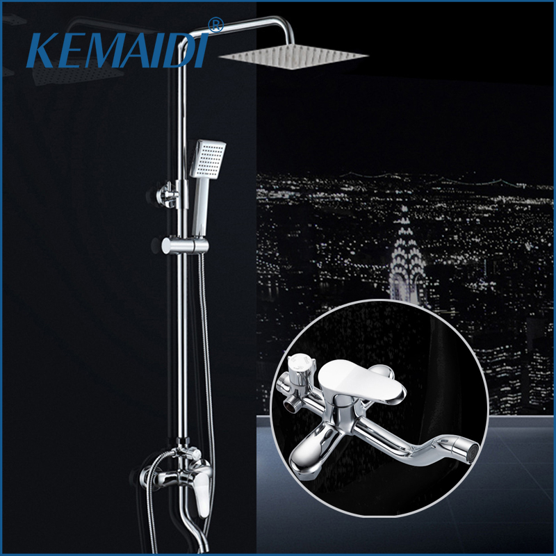 KEMAIDI New Modern Wall Mount Shower Faucet Mixer Tap W/ Rain Shower Head & Handheld Shower Chrome Finish Bathroom Sets 8 led new wall mounted ultrathin spray square waterfall handheld shower chrome polished shower sets tap mixer faucet sets head
