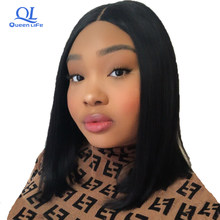 Queenlife Short Bob wig Lace Front human hair wigs Brazilian Remy Hair middle part pre plucked bleached knots wigs for women(China)