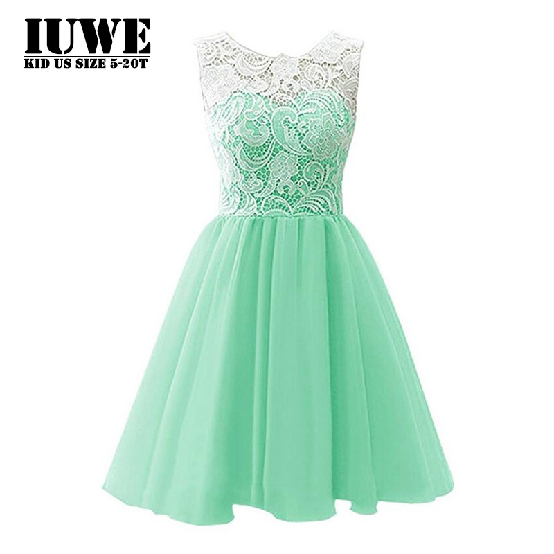 Summer Dress 2017 Mint Green Mid-calf Kids Floral Lace Patchwork Girls Dresses for Party and Wedding 7 Years Old Baby Clothing 8 summer dresses for girls party dress 100% cotton summer cool and refreshing the harness green flowered dress 1 5years old