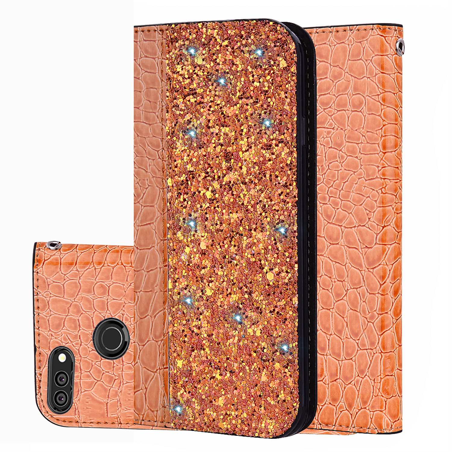 For Huawei honor View20 10 9 Lite 8C 7x 9i shiny crocodile-print flip-over leather case Y9 2019 Y7 Y6 Pro 2019 mobile bag