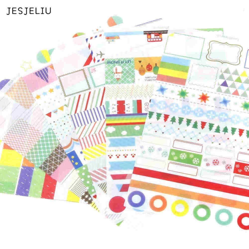 6pcs//SET Transparent Calendar Scrapbook Diary Book Decor Paper Planner Sticker `
