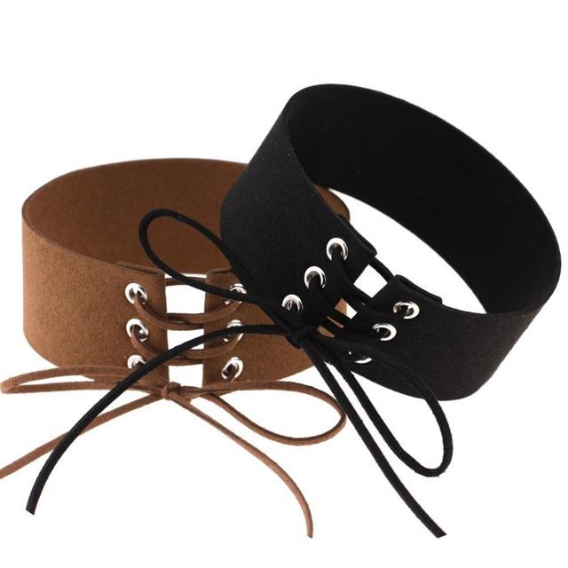 Women Gothic Big Chunky Boho Black Velvet Lace up Choker Velvet Choker Collier Necklace