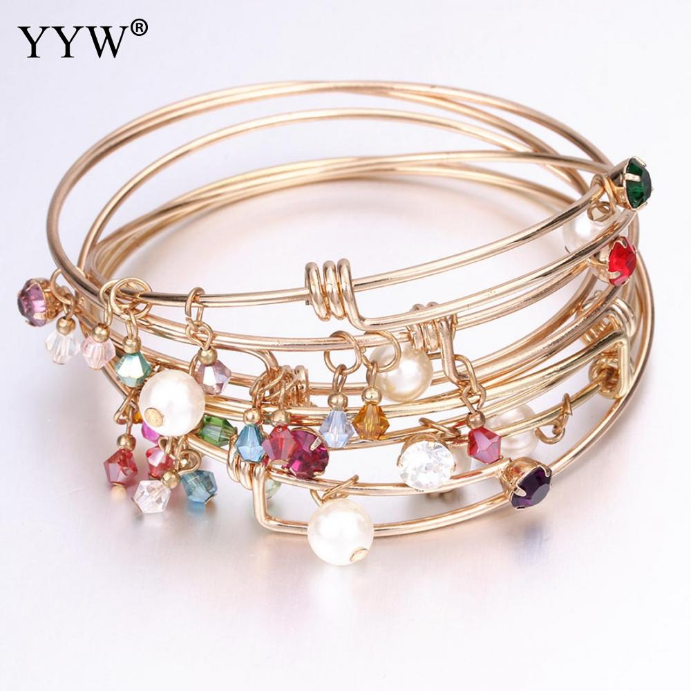 Charming Adjustable Bracelets & Bangles Vintage Crystal Beads Imitation Pearls Pendant Bangle Pulseras For Women DIY Jewelry