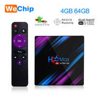 Wechip H96 MAX Android 9.0 TV Box 4G 64G RK3318 4 Core 2.4G/5G Wifi BT 4.0 4K HD Set Top Box H96max 4G 32G 100M 3.0 USD Ott Play