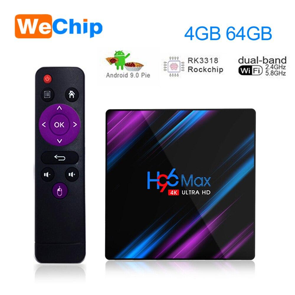 Wechip H96 MAX Android 9.0 TV Box 4G 64G RK3318 4 Core 2.4G/5G Wifi BT 4.0 4K HD décodeur H96max 4G 32G 100M 3.0 USD Ott Play