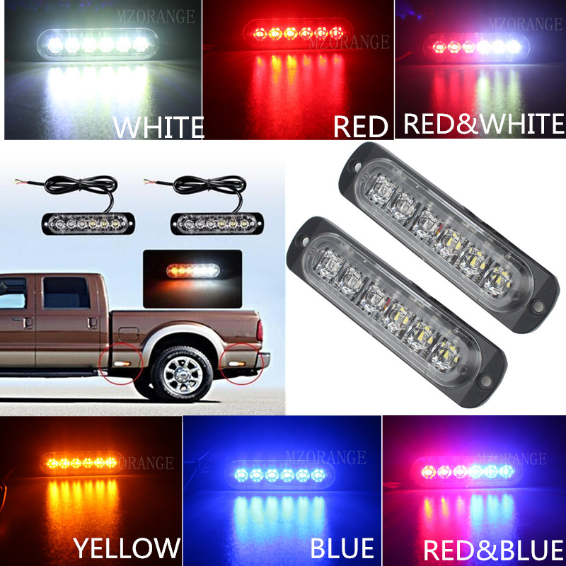 2x6 12 LED Super Bright White&Amber Warning Light Car Truck Van Side Strobe Light Red Blue Ambulance Strobe Emergency Light 2pcs