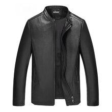 2016 New Winter Fur Leather Jacket Men Genuine Leather Mandarin Collar Sheepskin Coat Male Leather Jacket Brand Clothing 3XL 50